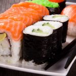 Japanese cuisine, sushi, rolls, chopsticks, plates, food wallpaper