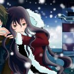 Wintry couple wallpaper