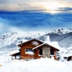 Snow view cabin landscape desktop