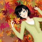 Beautiful girl with maple leaves wallpaper