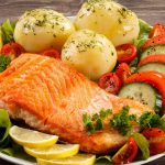 Food, dish, fish, fried fish fillet, tomatoes, greens, lemon, food wallpaper