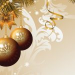Christmas balls brown wallpaper