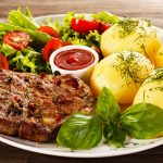 Steak, sauce, tomatoes, potatoes, lettuce, themed gourmet desktop wallpaper