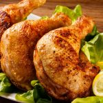 Food, chicken, roast chicken leg, lemon picture, vegetables, theme food wallpaper