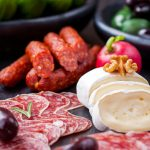 Sausage, cheese, nuts, peppers, fruits, themed gourmet desktop wallpaper