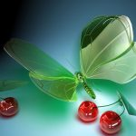 Cherry butterfly 3d design wallpaper picture