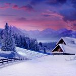 Snowy cottage landscape wallpaper