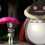 Little girl and Totoro anime wallpaper waiting at the station on rainy day