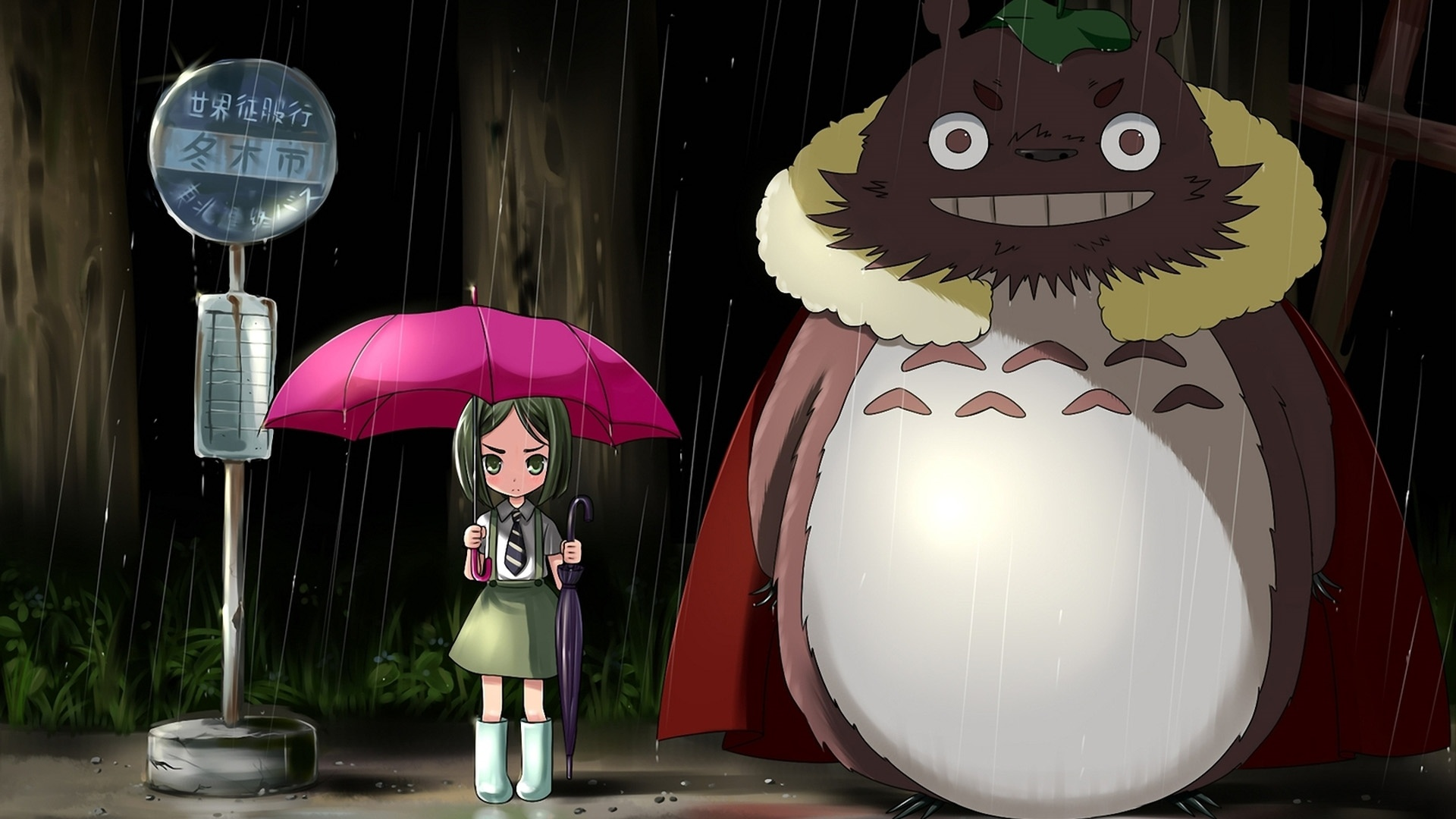 Little Girl And Totoro Anime Wallpaper Waiting At The Station On