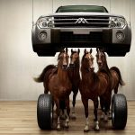 Horses and cars wallpaper