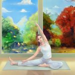 Painting, girl, yoga, themed desktop wallpaper