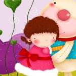 Cartoon girl and cubs wallpaper picture