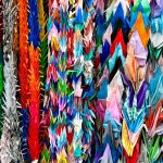 Multicolored origami wallpaper