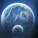 Planet and satellite hd wallpaper