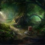Beautiful magic forest painting wallpaper