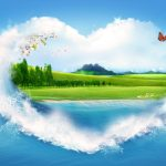 Creative heart made of water wallpaper