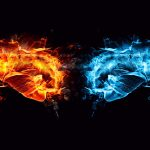 Two fists, fire and ice wallpaper