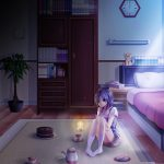 Lonely night anime girl desktop wallpaper