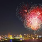 Fireworks background picture over night city