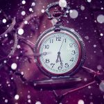 Pocket watch on a lilac background desktop wallpaper