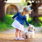 Cute little girl and dog child photography HD wallpaper