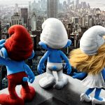 Smurfs on the roof of a skyscraper desktop wallpaper