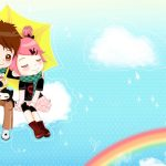 Rainbow lovers cute cartoon wallpaper
