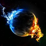 Red flame earth wallpaper