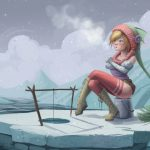 Girl fishes on ice floe wallpaper