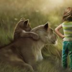 Man and nature lion and little boy desktop wallpaper