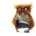 Owl with coffee hd wallpaper