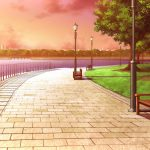 Quay with benches wallpaper