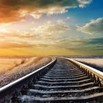 Railway in the steppes desktop background
