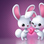 Pink cute rabbit lovers wallpaper