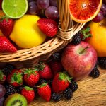 Fruits, strawberries, blackberries, lemons, apples, grapes, raisins, oranges, kiwis, baskets, fruit photo desktop wallpaper