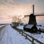 Winter snow road, windmill, mill, sunset, landscape widescreen wallpaper