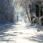 Silent snow-covered highway landscape desktop wallpaper