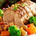 Meat, vegetables, baked ham, gourmet desktop wallpaper