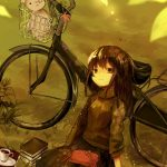 Cycling and girl anime wallpaper on the grass