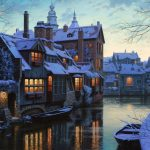 Winter romantic town night cartoon desktop wallpaper