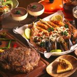 Cooked meat, barbecue, shrimp, shellfish, seafood, gourmet desktop wallpaper