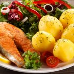 Fish, potatoes, lemon, small tomatoes, gourmet wallpaper
