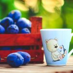 Blueberry, cup, drawing, bear, cute, green background, desktop wallpaper