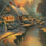 Christmas cottage decorated desktop wallpaper
