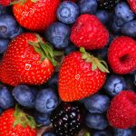 Strawberry, blueberry, fruit, gourmet, desktop wallpaper