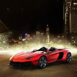 Lamborghini Aventador J, red super sports car desktop wallpaper
