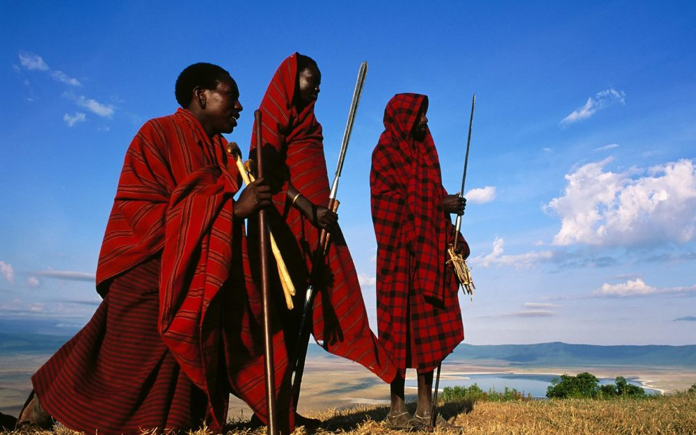 Masai at the Edge of the Ngorongoro, Tanzania desktop background