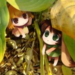 Cartoon little girl cute anime character wallpaper under the leaves