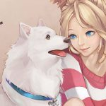 Pet dog with little girl anime painting wallpaper