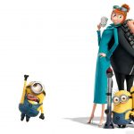 Despicable my little yellow man, sneak dad and girlfriend desktop wallpaper